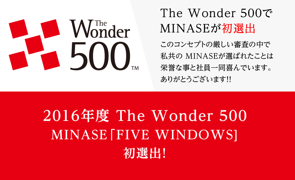 The Wonder 500 でMINASEが初選出