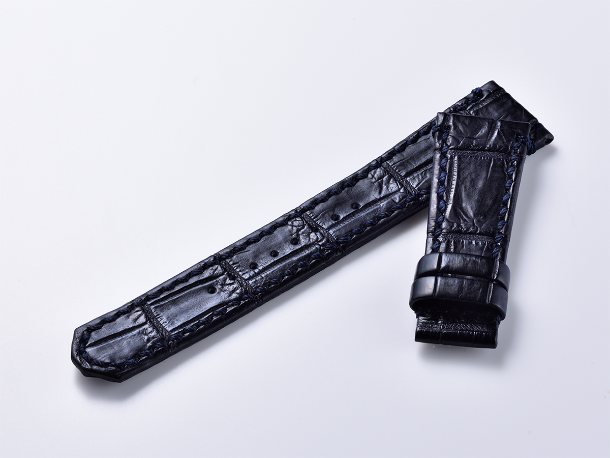 オリジナルクロコ革ベルト - ネイビー